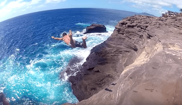 Cliff Diving Spitting Caves in Hawaii